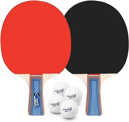 Walmeck- Tenis de Mesa Juego de 2 Jugadores 2 Raquetas de Palos de Tenis de Mesa con 4 Pelotas de Ping Pong para el hogar de la Escuela: Amazon.es: Deportes y aire libre