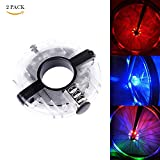Healthcom Bike Wheel Hub Lights 3 Modes LED Cycling Lights Bicycle Spoke Lights for Safe Riding Warnings, Multicolor (2 Pack)