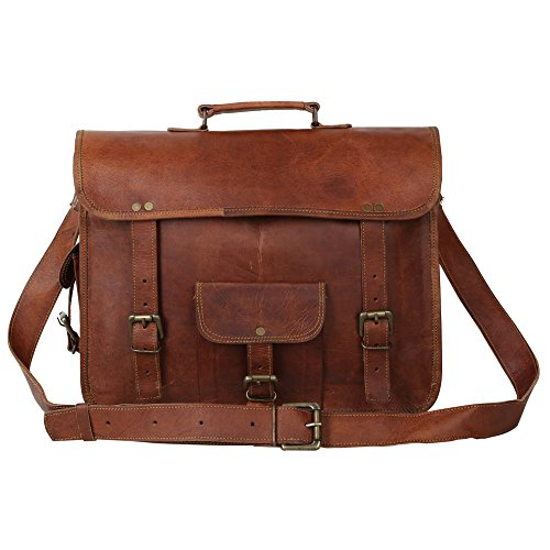 13 inch Tall & 15 Inch long Full Grain Veg Tan Vintage World War II Series Handmade Exclusive Genuine Leather with front cargo pocket Unisex Brown Briefcase/Laptop Bag/Office Bag By Indicraft Inc ()