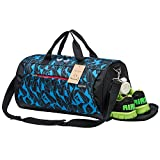 Kuston Sports Gym Bag with Shoes Compartment Travel Duffel Bag for Men and Women (Geometry Blue)