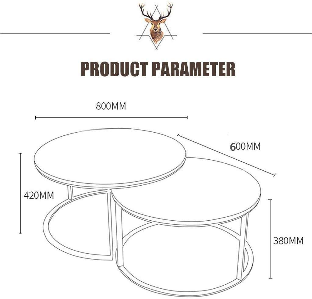 HZC End Side Tables Nesting Table Coffee Tables and Accent Cocktail Table Marble Round Nesting Table Set for Living Room Office Bedroom by HZC