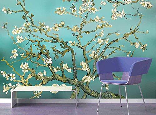 Aqua Almond Blossom by Vincent Van Gogh Wall Mural