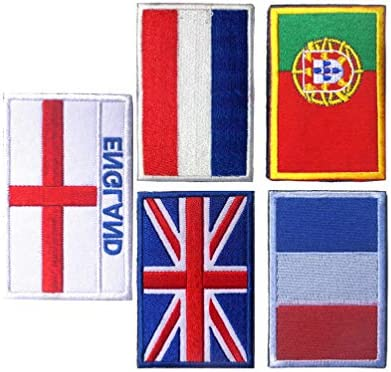 BESPORTBLE 5pcs National Flags Patches DIY Sewing Embroidery Cloth Appliques Sports Flag Badges UK France Netherlands Portugal England Patches