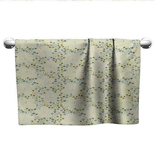 alisoso Flower,Bath Sheet Ornament of Medallion Shapes Bordered with Small Wildflowers Pattern Print Quick-Dry Towels Khaki Blue Green W 35