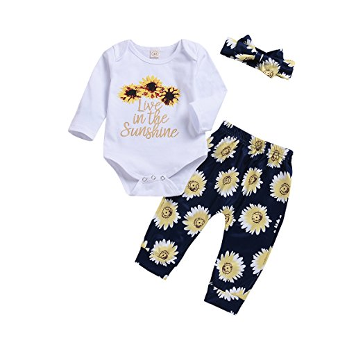 Newborn Baby Sister Girl Sunflowers Outfit Live in