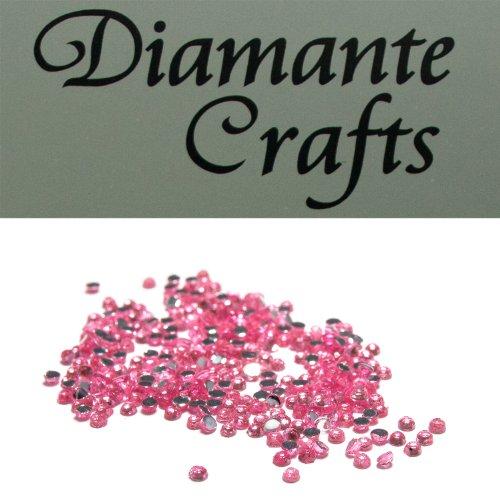 Diamante Crafts 300 x 1mm Diamante Loose Round Flat Back Rhinestone, Light Pink (Light Diamante Three)