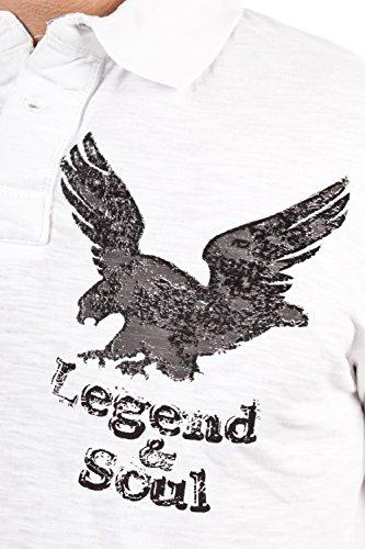 Legend & Soul Herren kurzarm Poloshirt weiß PS07-White