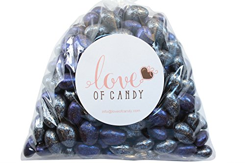 Love of Candy Bulk Candy - Silver & Navy Jewel Chocolate Almonds - 3lb Bag (Shell Silver Sugar)