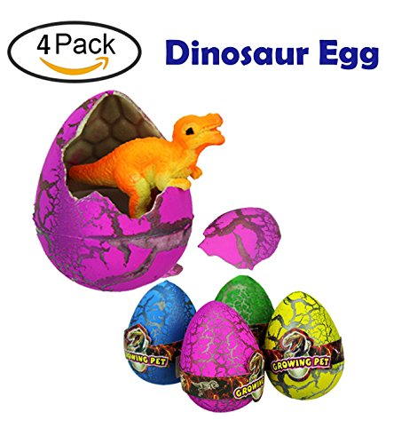 4 Pcs Cute Novelty Magic Hatching Growing Pet Dinosaur Eggs for Halloween Cosyume, Colorful Dino Eggs Toys Party Favors for Kids -