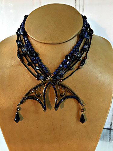 Blue and Black Bead and Gemstone Necklace with Bakelite Faux-Tortoise Shell Art Nouveau Pendant 17 Inches Long (Necklace Faux Shell Tortoise)