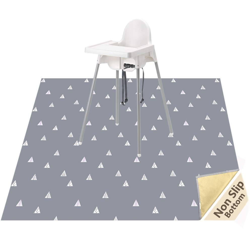 Plastic Grey with White Dots Baby Splash Mat for Highchair Weaning Mat