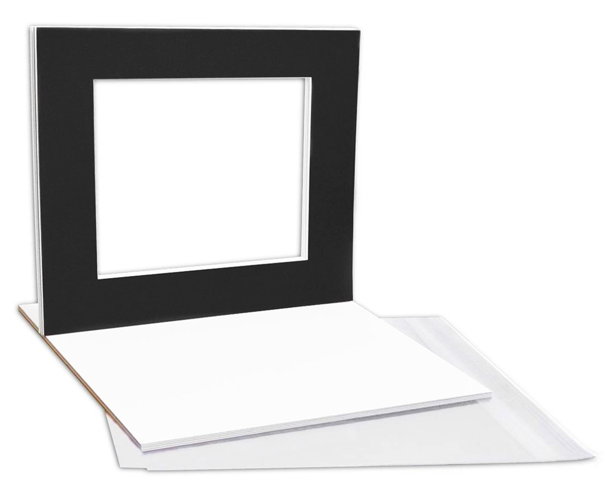 Pack of 10 16x20 Black Picture Mats Mattes with White Core Bevel Cut for 11x14 Photo + Backing + Bags by Golden State Art