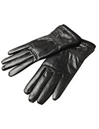 Oncefirst Men's Warm Soft Genuine Leather Driving Gloves Black1