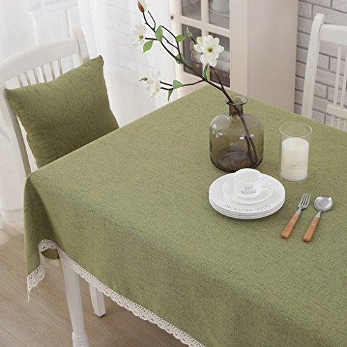 XIXI Nappe de Style moderne vert, matériel de lin, Rectangle de lin, Linge de table ordinaire pour salle à manger, cuisine, hôtel, café, restaurant (140 * 180Cm, 140 * 220Cm),140 * 220cm