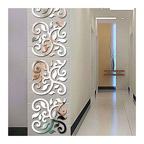 European Style Flower Vines Mirror Effect Wall Stickers DIY 3D Silver Color Wall Decal for Living Room Hall Entrance Home Decoration Acrylic Wall Decor Removable, 30cm X 120cm