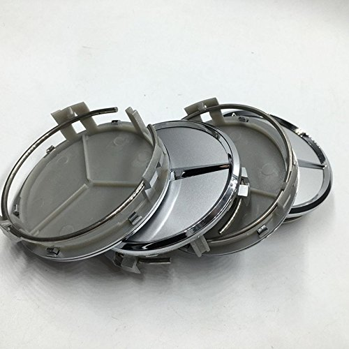 Mangocore 4pcs For Mercedes 75mm Silver Hub Cap Cover Car Logo Emblem Chrome Wheel Center for Benz A B C CLA CLS G M R S Center Cap badge