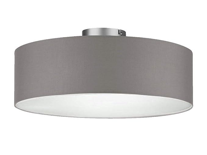 Plafón circular con pantalla de tela en gris de color marrón Diámetro 40 cm – satinada protectora para luz difusa Ambiente