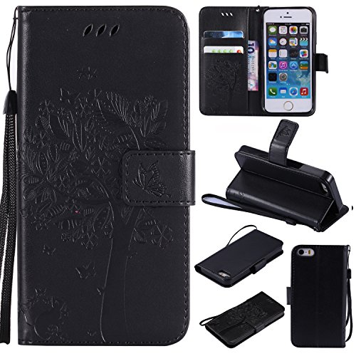 (iPhone 6 / 6S Wallet Case,HAOTP Beauty Love Tree Embossed Plants PU Flip Stand Credit Card ID Holders Shockproof Soft TPU Inner Bumper Protective Leather Case Cover for iPhone 6 / 6S - Black)