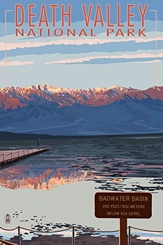 - Death Valley National Park, California - Badwater (12x18 Art Print, Wall Decor Travel Poster)