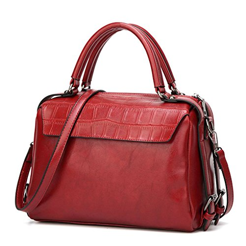 PU Handbag Wine Crossbody Style Bags Double Messenger Single Mengonee shoulder Bags Handle Women Vintage Girl Zipper IqZw44tU