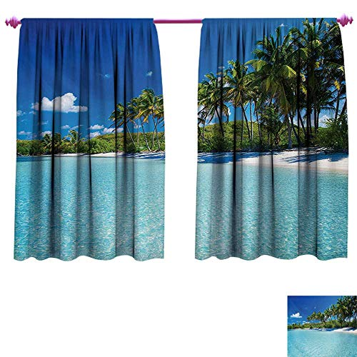 cobeDecor Ocean Blackout Draperies for Bedroom Relaxing Beach Resort Spa Palm Trees and Sea Exotic Caribbean Coastline Room Darkening Wide Curtains W72 x L45 Turquoise Blue Green ()