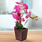 MyGift-Decorative-Synthetic-Purple-Silk-Artificial-Phalaenopsis-Moth-Orchid-Flower-wPlant-Stand