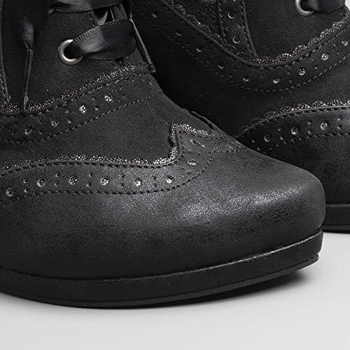 Heel Women's Shoo Peri Ruby Boots Noir up High Lace wq6In5