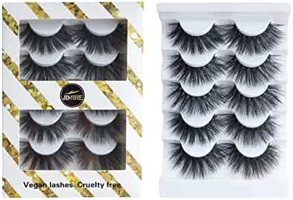 JIMIRE High Volume False Eyelashes Fluffy 3D Lashes Pack 5 Pairs