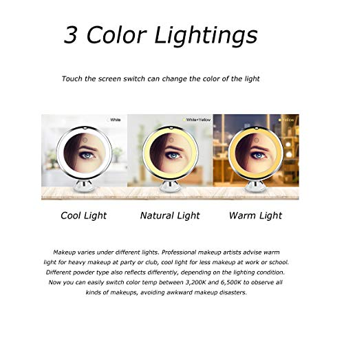 KOOLORBS 2020 New Version 10X Magnifying Makeup Mirror with Lights, 3 Color Lighting, Intelligent Switch, 360 Degree Rotation, Powerful Suction Cup, Portable, Good for Tabletop, Bathroom, Traveling 2