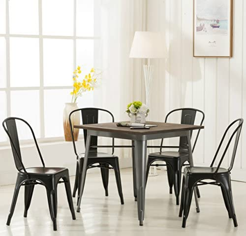 Modern Black Metal Stackable Dining Chic Bistro Cafe Side Chair with Backs Set of 4 Vintage Tolix Kitchen Chair