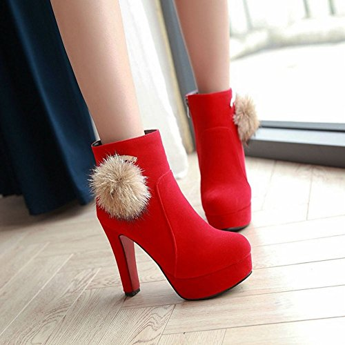 ... Mee Shoes Damen high heels Pompon Plateau Stiefel Rot ...