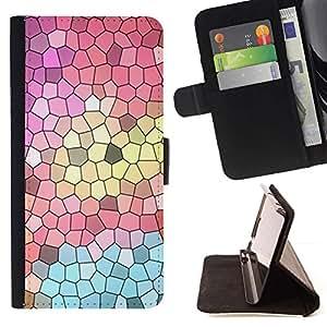Momo Phone Case / Flip Funda de Cuero Case Cover - Iglesia Polígono del arte abstracto del trullo Rosa - Motorola Moto E ( 1st Generation )