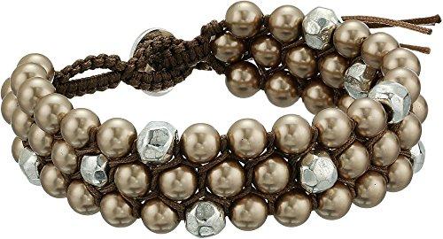 Chan Luu Women's Triple Stacked Single Wrap Bracelet with Crystal Pearls Bronze Pearl One Size (Chan Luu Single Wrap)