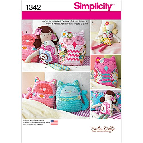 Stuffed Doll Pattern - Simplicity Creative Patterns 1342 17-Inch Stuffed Dolls and 9-Inch Stuffed Animals Sewing Patterns, One Size