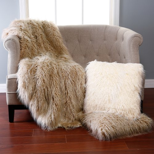 Best Home Fashion Taupe Mongolian Lamb Faux Fur Throw
