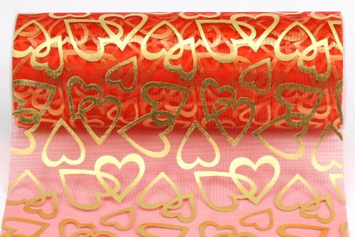 Kel-Toy Heart Print Sheer Fabric, 6-Inch by 10-Yard, Red with Gold - Fabric 10 Yard Dress