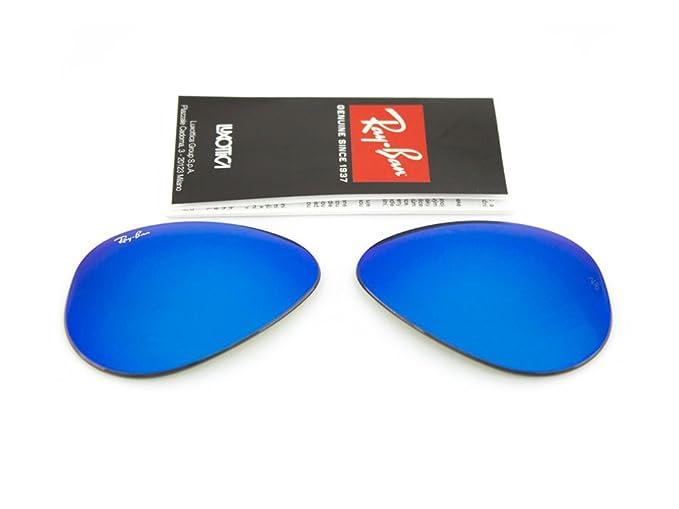3c045b3e2b049 Ray Ban lenti di ricambio per RB3025 Aviator large Metal ORIGINALI (Blu  specchiato, 55
