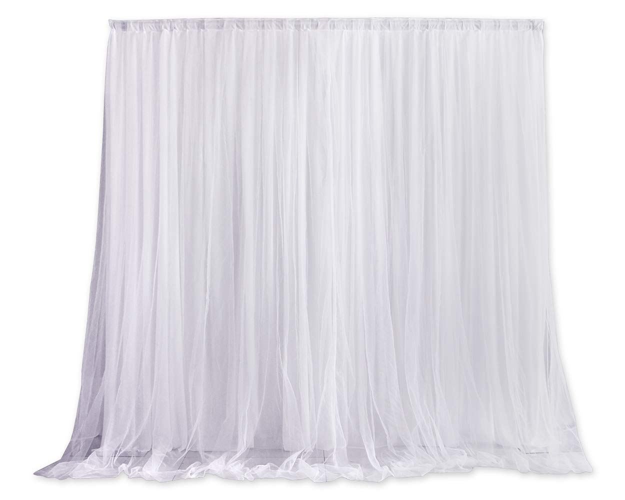 ACE SELECT 6.5ft x 6.5ft Tulle Photography Backdrop Curtains Wedding Party Backdrops Photo Background Decoration for Studio/Birthday/Baby Shower/Christmas/Prom (White) by ACE SELECT