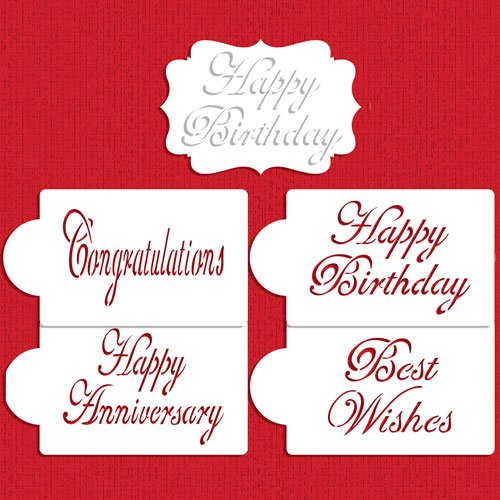 Large Script Celebration Cake Stencil Set by Designer Stencils ()