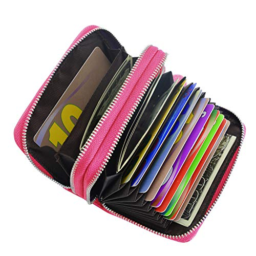 Credit-Card-Holders-Women-Ladies-Leather-Credit-Card-Wallets-Business-Credit-Card-Holder-Card-Case-for-Women-Rose-red