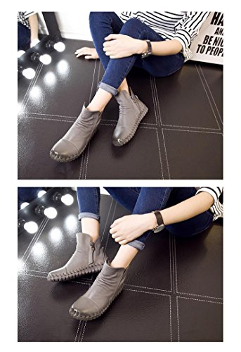 Bootie Genuine High Women's Snow Sewing Gray Shoes UPSUN Cow Boots Leather Hand Ankle U5PwqqWZ