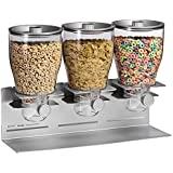 Zevro KCH-06151 Commercial Plus Dry Food Dispenser, Triple Canister, Stainless Steel, Silver/Chrome