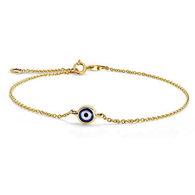 Bling Jewelry 14K Yellow Gold Evil Eye Adjustable Bracelet 6 5