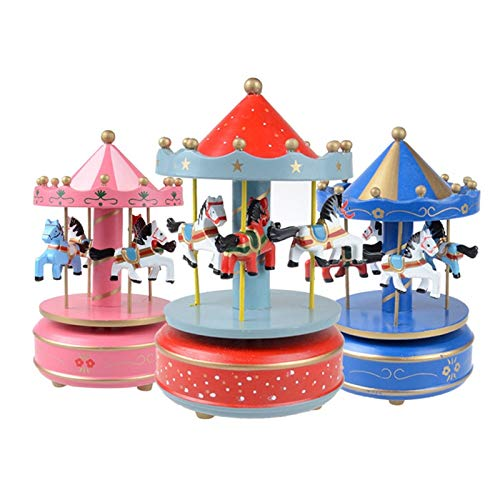 Culturemart Hot Toy Musical Instrument Toy Wooden Merry-Go-Round Music Box Christmas Birthday Gift Carousel Music Box