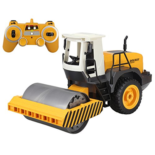 2.4G RC Road Roller Truck Remote Control Engineer Heavy Vehicle Toy Drum Roller Truck Model With Light
