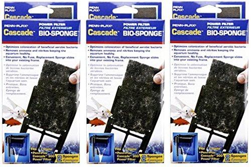 (3 Pack) Penn Plax Cascade Power Aquarium Filters Bio-Sponge 300 (Cascade Bio Sponge)