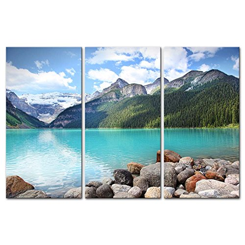 - Wall Art Decor Poster Painting On Canvas Print Pictures 3 Pieces Beautiful Lake Louise in The Banff National Park Alberta Canada Lake Landscape Framed Picture for Home Decoration Living Room Artwork