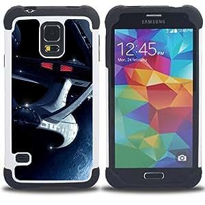 BullDog Case - FOR/Samsung Galaxy S5 I9600 G9009 G9008V / - / The Enterprise Space Ship /- H??brido Heavy Duty caja del tel??fono protector din??mico - silicona suave