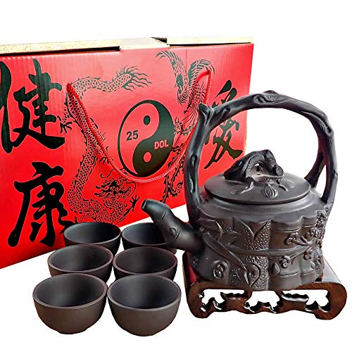 Sipping Tea Set 8 Pieces made with Premium Quality Chinese Yixing Purple Clay - Teapot