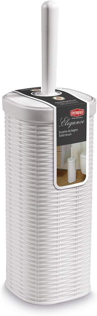 Scopino Scopettino da Bagno Colore Bianco Stefanplast modello Elegance effetto vimini